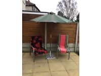 Garden chairs with parasol