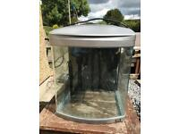 Fish tank with filter and air pump.