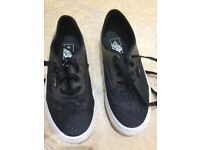 Girls black sparkle vans size 2