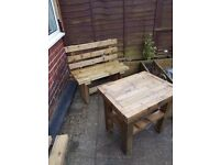 Brand new 1200mm TIMBER BENCH with BACK and TABLE