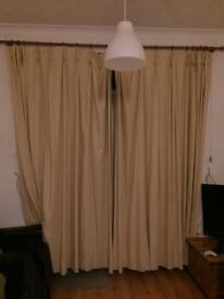 2 x pairs of cream curtains for sale. One pair door length, one pair window length