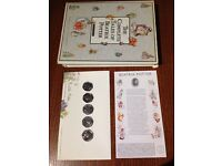 Beatrix Potter Full set uncirculated 50 pence coins + 1st day envelope + BOOK