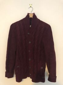 Ted Baker Men's Cardigan in burgundy / maroon. 60% cotton, 30% nylon, 10% wool. Size M (UK 38)