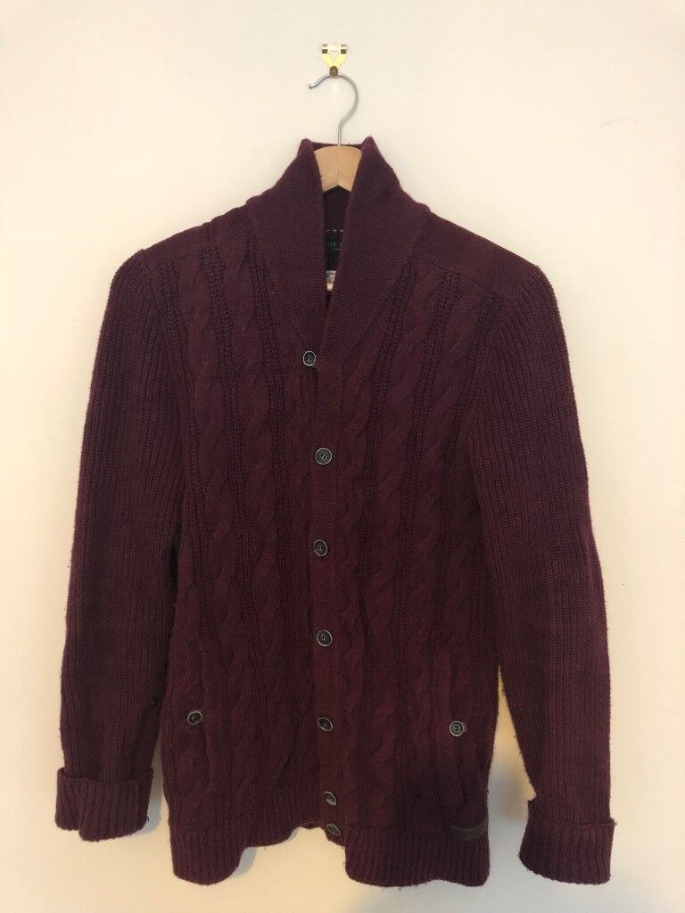 a5f7f38986848e Ted Baker Men s Cardigan in burgundy   maroon. 60% cotton