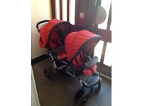 Double pushchair with car seat