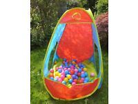 Pop up tent and balls