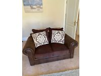 Brown 2 seater sofa for sale (cushions included)