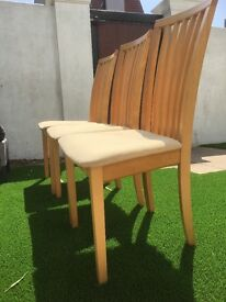 Beech wood dining chairs with cream fabric seats x3