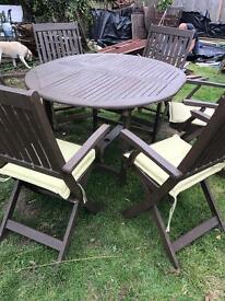 Wooden Garden table 6 chairs