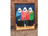 Original Bolivian painting in wooden frame- Wall Art, Decorative.