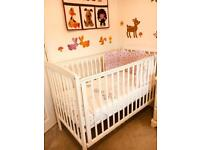 White Wooden Cot Mattress And Bedding Bundle