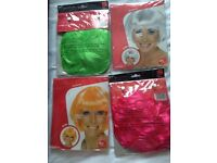 4 x Wigs ideal for hen parties and dance clubs (green, pink, orange, white bobs) RRP £7.99