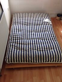 Futon/Sofa Bed (Wooden Frame and Double Mattress)