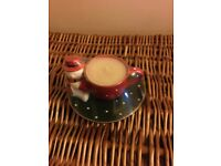 Unusual Cup and Saucer Christmas Candle