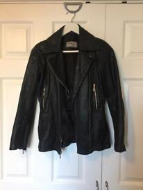 100% real leather black jacket. Size small 6-8