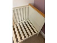 Cot bed from John Lewis including the mattress.