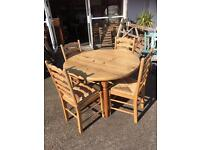 LOVELY CHUNKY SOLID PINE ROUND TABLE AND FOUR LADDER BACK CHAIRS for sale  Leicestershire
