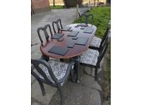 Rustic vintage CHARCOAL wooden extending dining table + 6 chairs. Shabby chic. LOCAL DELIVERY.