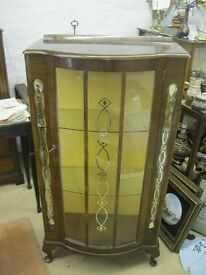 VINTAGE ORNATE FREE-STANDING GLAZED DISPLAY CABINET.LOCK & KEY. VIEWING/DELIVERY AVAILABLE