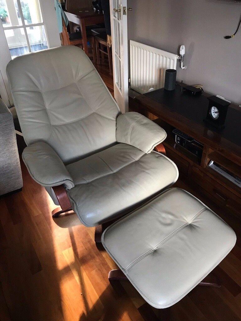 Cream leather reclining armchair | in Coatbridge, North ...