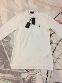 Mens Ralph Lauren Polo Shirt White Small Long Sleeve