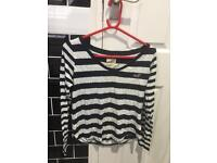 Genuine Hollister navy blue and white long sleeve top £10