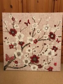 Large Blossom and Butterfly Canvas