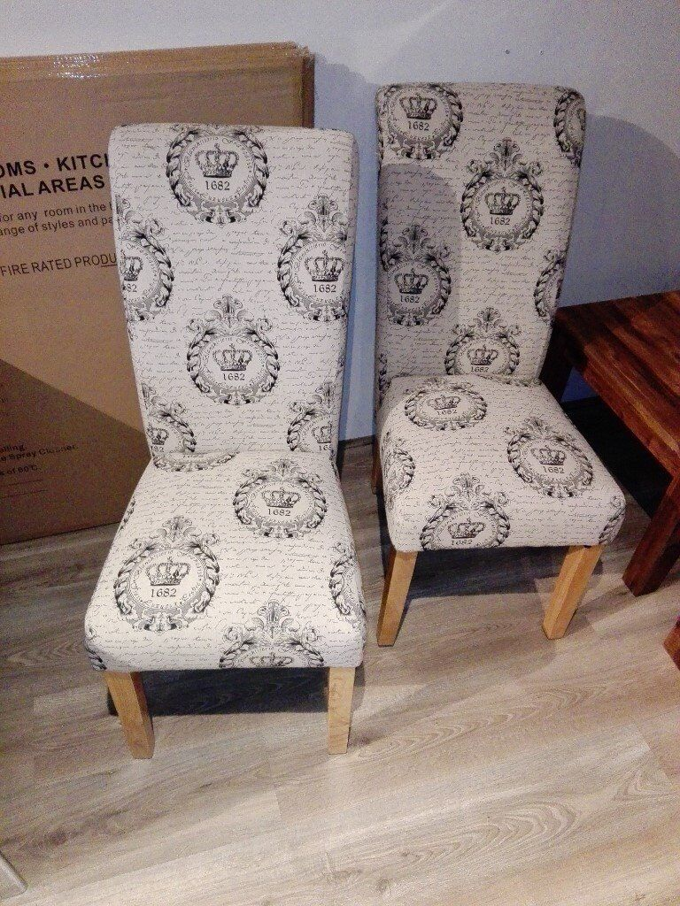 Set of 2 Beige Fabric Dining Chairs with Solid Wood Legs in Oak Colour New