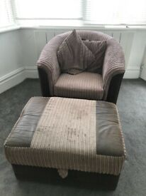 Armchair with footrest pouffe