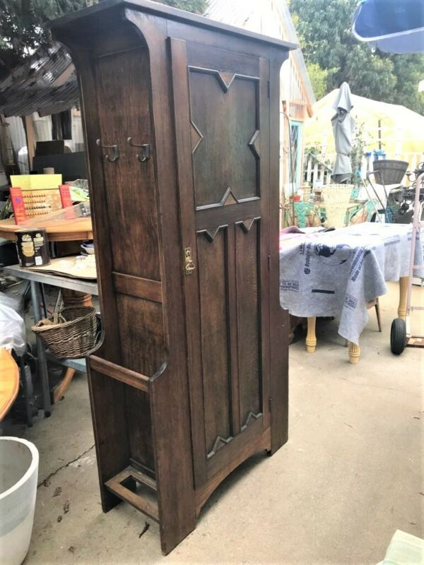 Fantastic Arts & Crafts Mission Style Solid Oak Hall Tree-Coat Closet-Umbrella