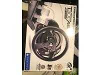Thrust master gaming chair with steering wheel and pedal