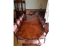 Large 12 seat Dining Table & 12 Upholstered Chairs - Mahogany Antique