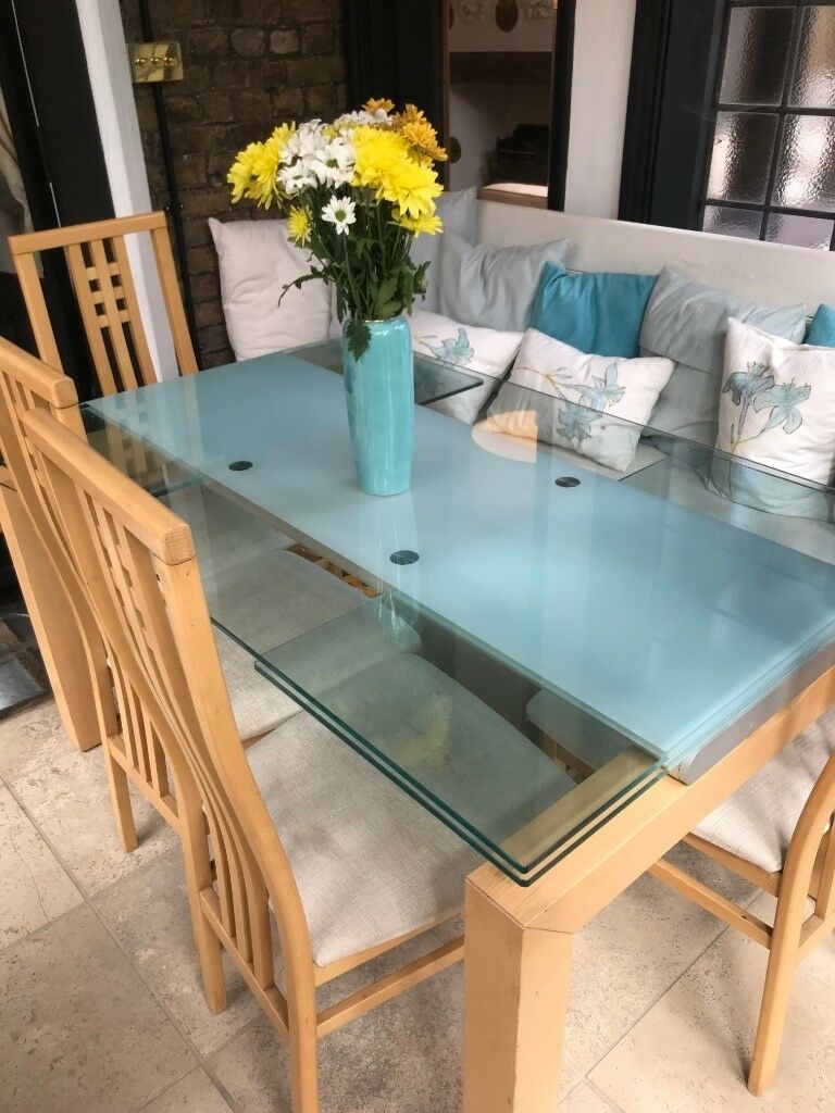 Extendable glass dining table & 4 chairs | in Twickenham, London ...