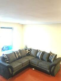 New TYNE black and grey corner sofa