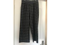 Topshop Black Check Cropped Trousers