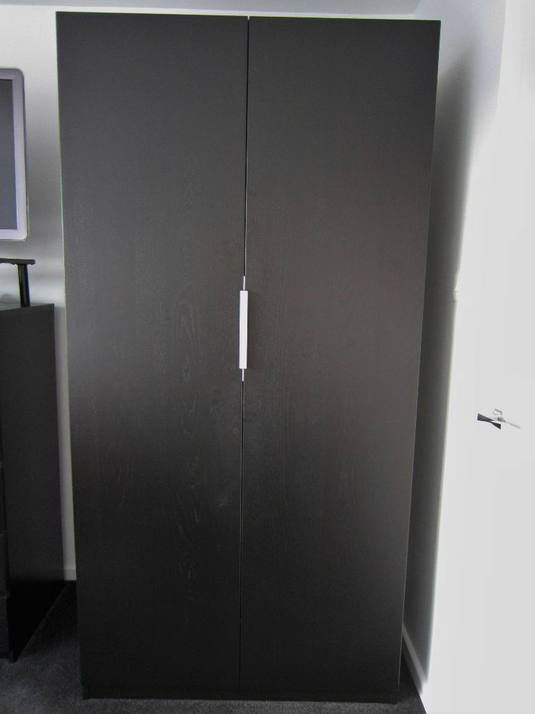 Second Hand Ikea Black Brown Pax Double Wardrobe In Great