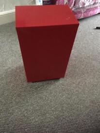 Small red filing cabinet