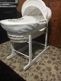 White Moses basket with rocking stand