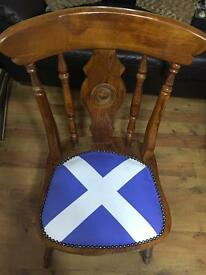 Scottish Flag style wooden chair