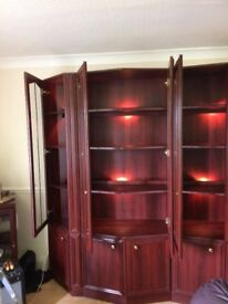 Rosewood display cabinets & stereo unit. Good condition.