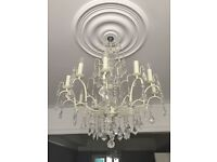 Two lovely glass crystal drop chandeliers for sale
