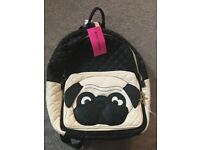 BETSEY JOHNSON PUG BACKPACK WITH LABEL STILL ATTACHED