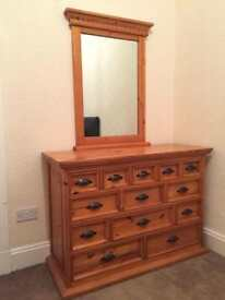 Solid chest of drawers & Matching Mirror
