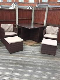 9 piece Rattan Cube table and chairs