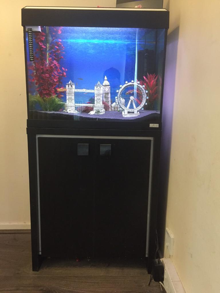 Fluval 90 tank and cabinet fully stocked