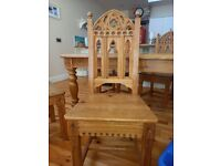 Solid pine dining table with 4 solid wood gothic chairs