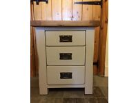 3 drawer oak bedside cabinet, painted Farrow and Ball Stone. Nearly new and unused .