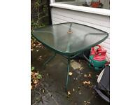 Glass and metal garden table