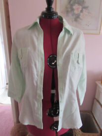 Ladies pale green H&M linen mix shirt Size EU44 (16) Excellent condiiton