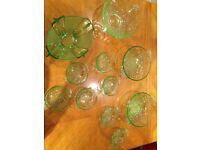 Art deco vaseline glass collection matching sets
